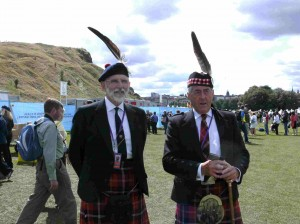 John and Andy in Marjoribanks kilts at the Homecoming in Queen's Park