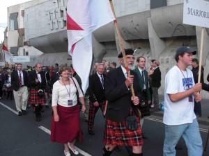 The Clan Marjoribanks parade at the bottom of the Royal Mile, edinburgh